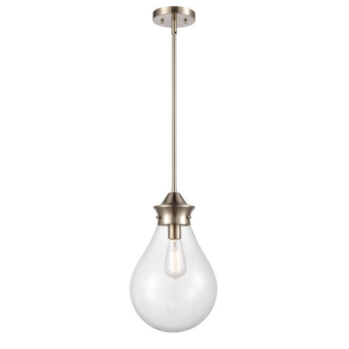 Genesis Satin Nickel 10-Inch LED Pendant with Clear Glass Shade