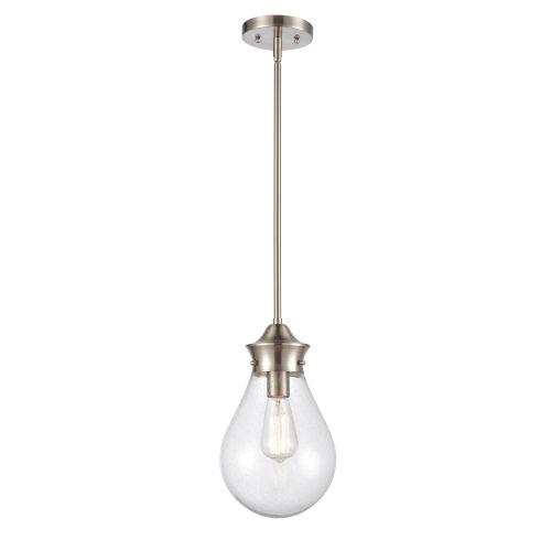 Genesis Satin Nickel Eight-Inch LED Mini Pendant with Seedy Glass Shade
