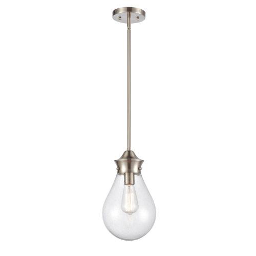 Genesis Satin Nickel Eight-Inch One-Light Mini Pendant with Seedy Glass Shade