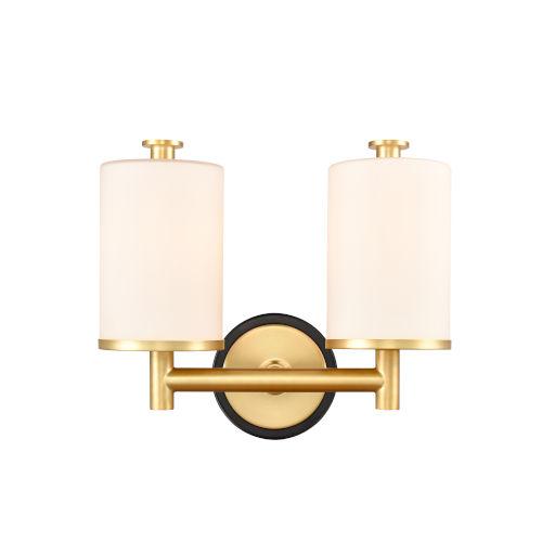 Marlowe Matte Black Satin Gold Two-Light LED Bath Vanity