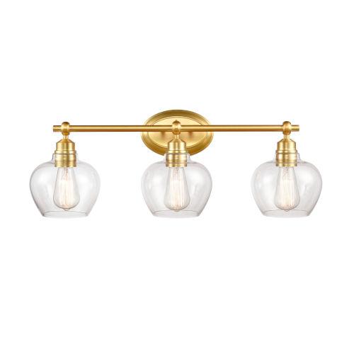 Amina Satin Gold Three-Light Bath Vanity