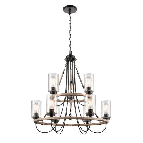 Paladin Matte Black Nine-Light LED Chandelier