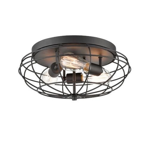 Austere Matte Black Three-Light LED Flush Mount