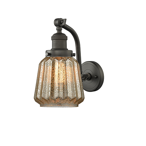 Innovations Lighting Chatham Oiled Rubbed Bronze One-Light Wall Sconce with Mercury Fluted Novelty Glass