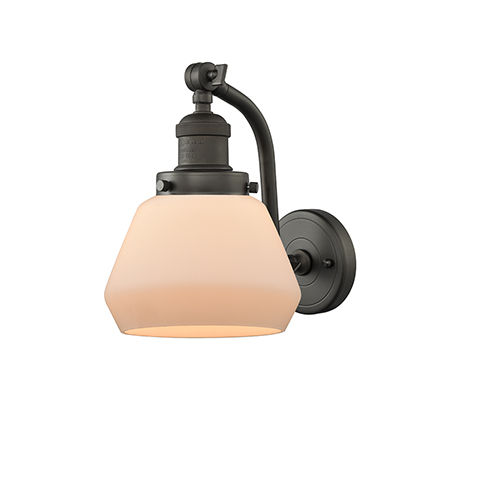 Innovations Lighting Fulton Oiled Rubbed Bronze 12-Inch LED Wall Sconce with Matte White Cased Sphere Glass