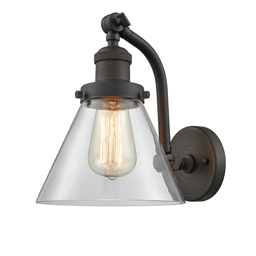 Innovations Lighting Large Cone Oiled Rubbed Bronze 12-Inch LED Wall Sconce with Clear Cone Glass