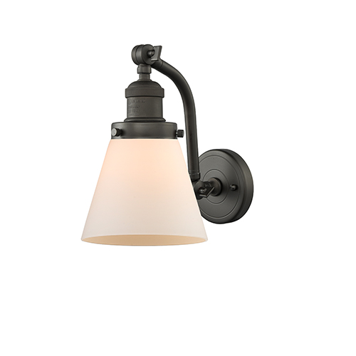 Small Cone Oiled Rubbed Bronze Seven-Inch One-Light Wall Sconce with Matte White Cased Cone Glass