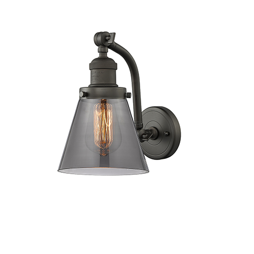 Innovations Lighting Small Cone Oiled Rubbed Bronze Seven-Inch One-Light Wall Sconce with Smoked Cone Glass