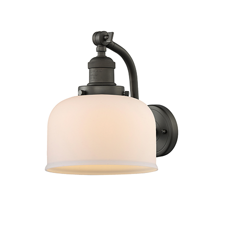 Large Bell Oiled Rubbed Bronze LED Wall Sconce with Matte White Cased Dome Glass