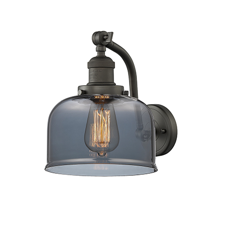 Innovations Lighting Large Bell Oiled Rubbed Bronze One-Light Wall Sconce with Smoked Dome Glass