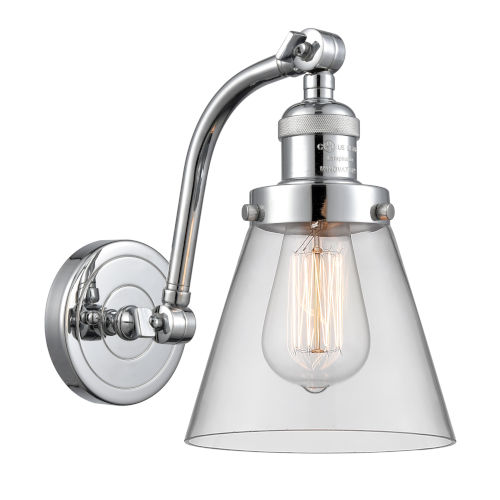 Franklin Restoration Polished Chrome Seven-Inch One-Light Wall Sconce with Clear Small Cone Shade