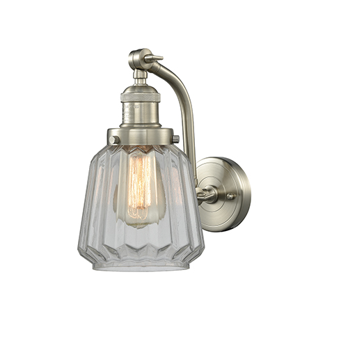 Chatham Brushed Satin Nickel One-Light Wall Sconce with Clear Fluted Novelty Glass