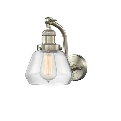 Innovations Lighting Fulton Brushed Satin Nickel 12-Inch One-Light Wall Sconce with Clear Sphere Glass
