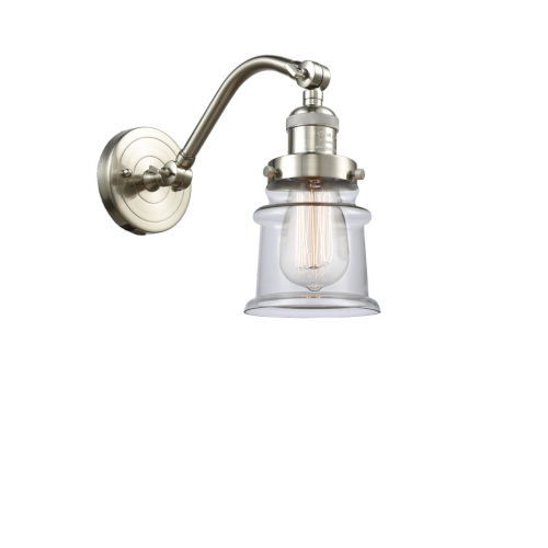 Franklin Restoration Brushed Satin Nickel 12-Inch LED Wall Sconce with Small Clear Canton Shade