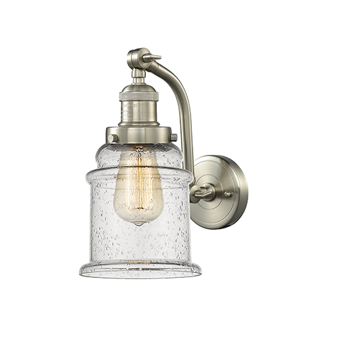 Canton Brushed Satin Nickel 12-Inch One-Light Wall Sconce with Seedy Bell Glass