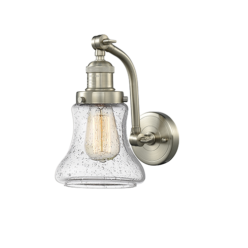 Bellmont Brushed Satin Nickel 12-Inch LED Wall Sconce with Seedy Hourglass Glass