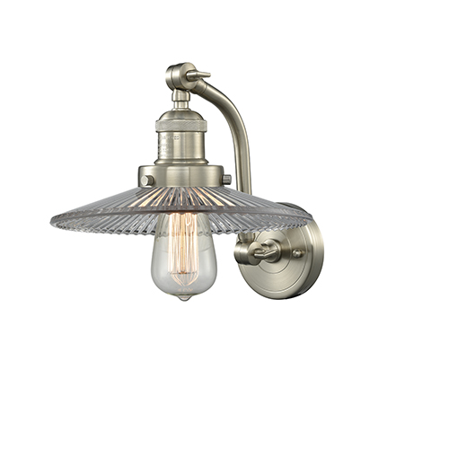 Innovations Lighting Halophane Brushed Satin Nickel 12-Inch One-Light Wall Sconce with Halophane Cone Glass