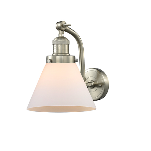 Innovations Lighting Large Cone Brushed Satin Nickel 12-Inch LED Wall Sconce with Matte White Cased Cone Glass