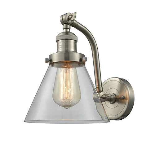 Innovations Lighting Large Cone Brushed Satin Nickel 12-Inch One-Light Wall Sconce with Clear Cone Glass