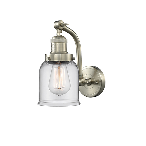 Small Bell Brushed Satin Nickel 12-Inch One-Light Wall Sconce with Clear Bell Glass