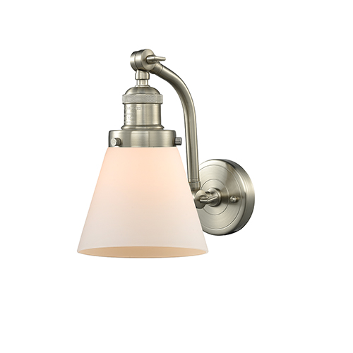 Innovations Lighting Small Cone Brushed Satin Nickel Seven-Inch One-Light Wall Sconce with Matte White Cased Cone Glass