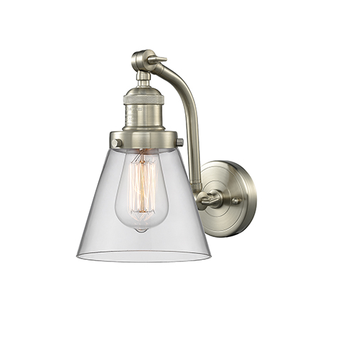 Small Cone Brushed Satin Nickel Seven-Inch One-Light Wall Sconce with Clear Cone Glass