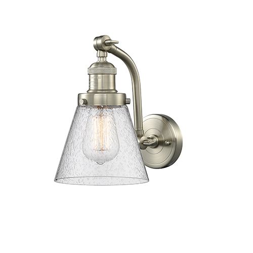 Small Cone Brushed Satin Nickel Seven-Inch One-Light Wall Sconce with Seedy Cone Glass