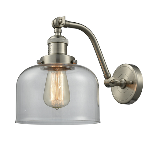 Innovations Lighting Large Bell Brushed Satin Nickel LED Wall Sconce with Clear Dome Glass