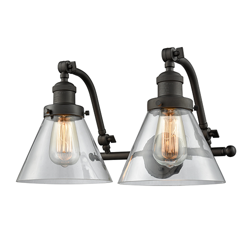Innovations Lighting Large Cone Oiled Rubbed Bronze Two-Light Bath Vanity with Clear Cone Glass
