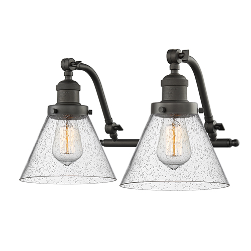 Innovations Lighting Large Cone Oiled Rubbed Bronze Two-Light LED Bath Vanity with Seedy Cone Glass