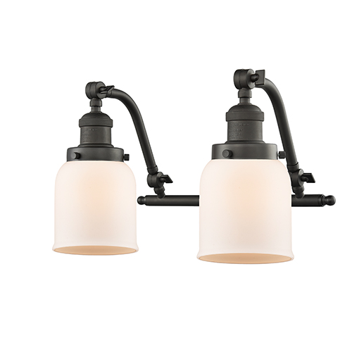 Innovations Lighting Small Bell Oiled Rubbed Bronze 18-Inch Two-Light LED Bath Vanity with Matte White Cased Bell Glass