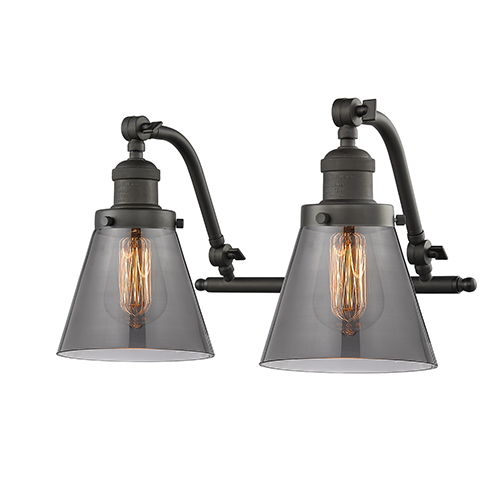 Innovations Lighting Small Cone Oiled Rubbed Bronze 18-Inch Two-Light Bath Vanity with Smoked Cone Glass