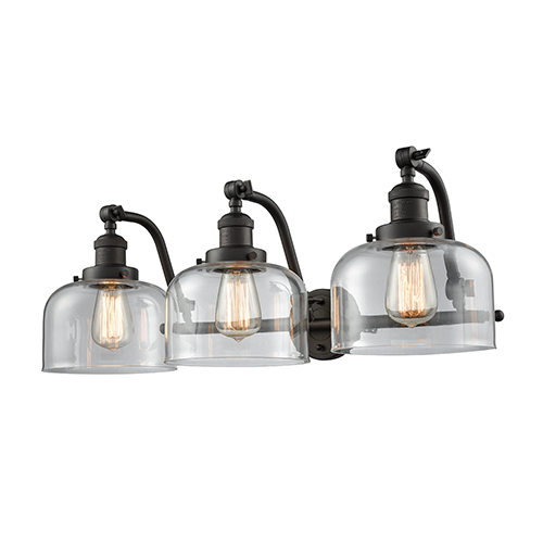 Innovations Lighting Large Bell Oiled Rubbed Bronze 18-Inch Two-Light LED Bath Vanity with Clear Dome Glass