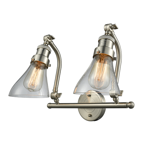 Innovations Lighting Salem Brushed Satin Nickel Two-Light Bath Vanity with Clear Angle Cone Glass