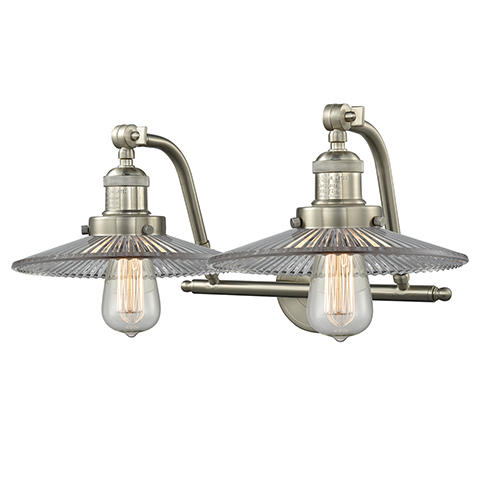 Innovations Lighting Halophane Brushed Satin Nickel Two-Light Bath Vanity with Halophane Cone Glass