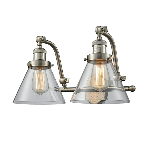 Large Cone Brushed Satin Nickel Two-Light Bath Vanity with Clear Cone Glass