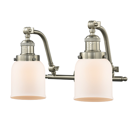 Innovations Lighting Small Bell Brushed Satin Nickel 18-Inch Two-Light Bath Vanity with Matte White Cased Bell Glass