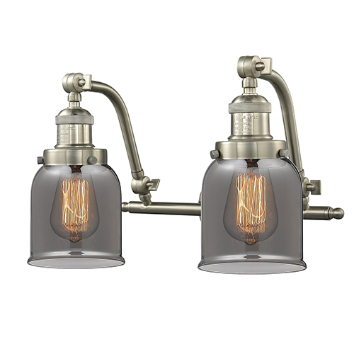 Innovations Lighting Small Bell Brushed Satin Nickel 18-Inch Two-Light Bath Vanity with Smoked Bell Glass