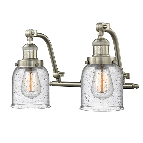 Innovations Lighting Small Bell Brushed Satin Nickel 18-Inch Two-Light Bath Vanity with Seedy Bell Glass