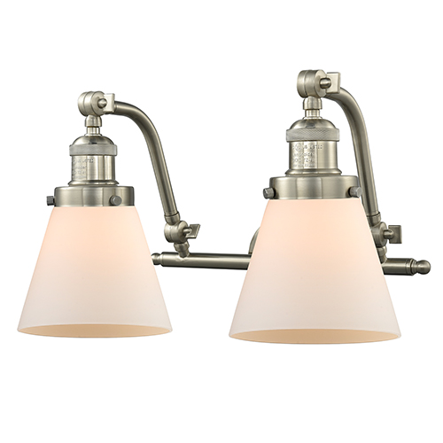 Innovations Lighting Small Cone Brushed Satin Nickel 18-Inch Two-Light Bath Vanity with Matte White Cased Cone Glass