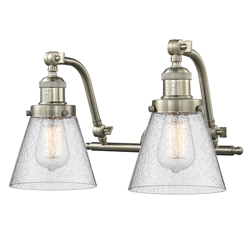Innovations Lighting Small Cone Brushed Satin Nickel 18-Inch Two-Light Bath Vanity with Seedy Cone Glass