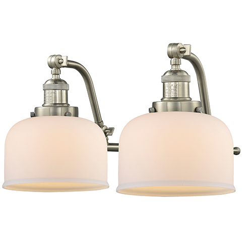 Innovations Lighting Large Bell Brushed Satin Nickel 18-Inch Two-Light Bath Vanity with Matte White Cased Dome Glass