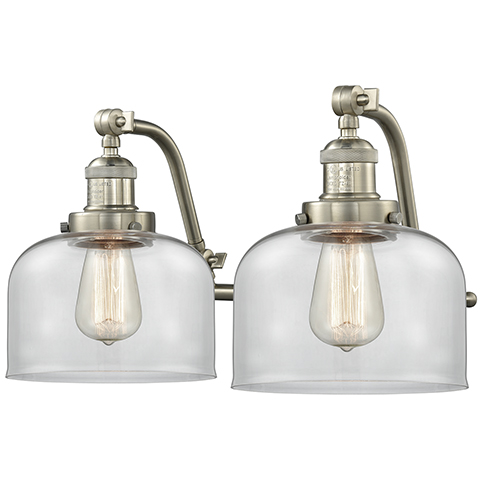 Innovations Lighting Large Bell Brushed Satin Nickel 18-Inch Two-Light Bath Vanity with Clear Dome Glass