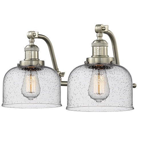Large Bell Brushed Satin Nickel 18-Inch Two-Light LED Bath Vanity with Seedy Dome Glass
