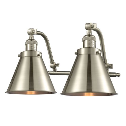 Franklin Restoration Brushed Satin Nickel 18-Inch Two-Light LED Bath Vanity with Appalachian Metal Shade