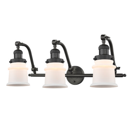 Franklin Restoration Oil Rubbed Bronze 12-Inch Three-Light LED Bath Vanity with Matte White Small Canton Shade