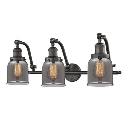 Innovations Lighting Small Bell Oiled Rubbed Bronze 28-Inch Three-Light LED Bath Vanity with Smoked Bell Glass