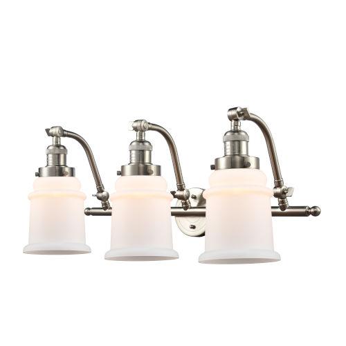 Franklin Restoration Brushed Satin Nickel 12-Inch Three-Light LED Bath Vanity with Matte White Canton Shade