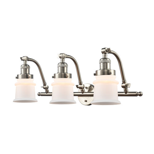 Franklin Restoration Brushed Satin Nickel 12-Inch Three-Light LED Bath Vanity with Matte White Small Canton Shade