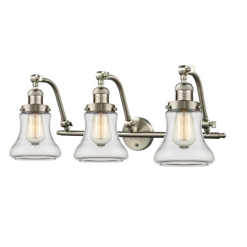 Franklin Restoration Brushed Satin Nickel 28-Inch Three-Light LED Bath Vanity with Clear Bellmont Shade